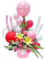 rangkaian bunga balon, rangkaian baby, ucapan selamat atas kelahiran
