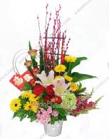 rangkaian bunga imlek, chinese new year arrangement, florist jakarta