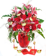 rangkaian imlek, chinese new year flower arrangement, florist jakarta, toko bunga jakarta