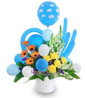 rangkaian bunga dan balon, rangkaian baby, rangkaian selamat kelahiran, rangkaian balon, balloon arrangement