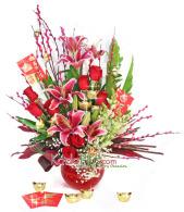rangkaian imlek, chinese new year arrangement jakarta, florist jakarta, toko bunga jakarta, chinese new year flower